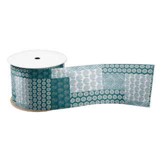 Chic Ethnic Faux Patchwork Pattern, Teal and White Satin Ribbon