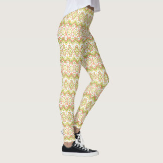 Chic Ethnic Ikat Pattern on White to Customize Leggings