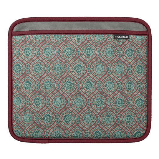 Chic Ethnic Ogee Pattern in Maroon, Teal and Beige iPad Sleeve