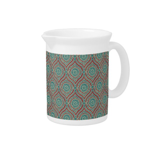 Chic Ethnic Ogee Pattern in Maroon, Teal and Beige Pitcher