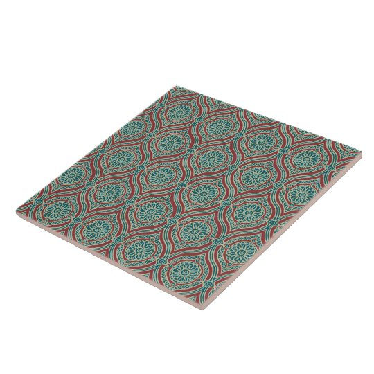 Chic Ethnic Ogee Pattern in Maroon, Teal and