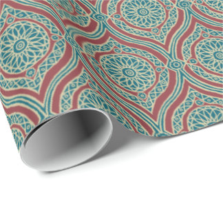 Chic Ethnic Ogee Pattern in Maroon, Teal and Beige Wrapping Paper