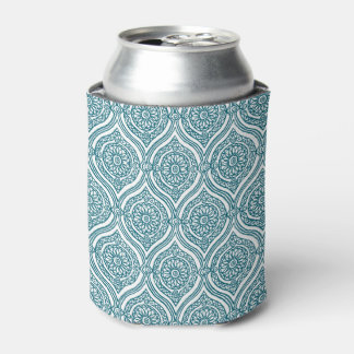Chic Ethnic Ogee Pattern in Teal on White Can Cooler