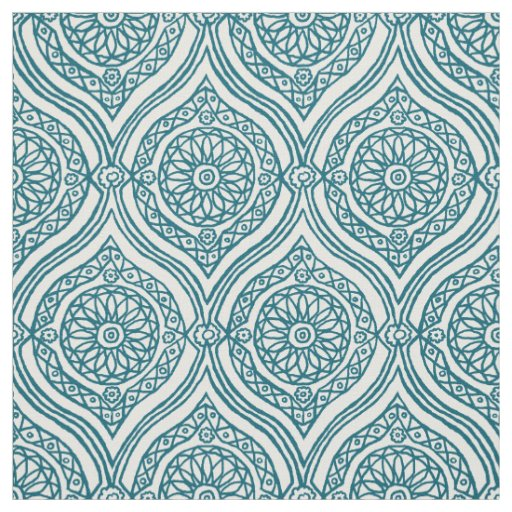 Chic Ethnic Ogee Pattern in Teal on White
