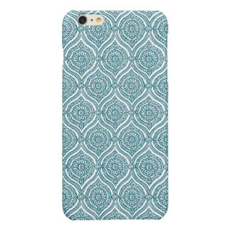 Chic Ethnic Ogee Pattern in Teal on White iPhone 6 Plus Case
