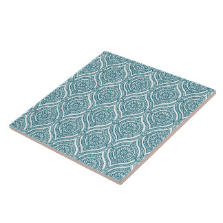 Chic Ethnic Ogee Pattern in Teal on White Tile