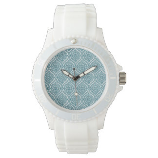 Chic Ethnic Ogee Pattern in Teal on White Watch