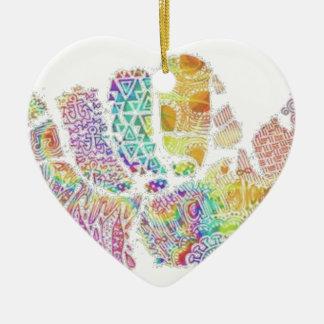 chic famous peace design ceramic heart decoration