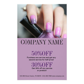 chic fashion beauty salon ombre purple nail artist flyer