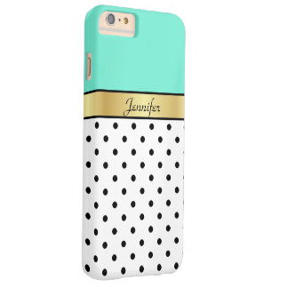 Chic Fashionable Mint Green Turquoise & Polka Dots Barely There iPhone 6 Plus Case