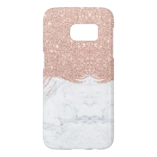 Chic faux glitter rose gold brushstrokes marble