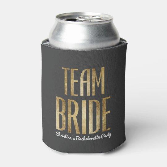 Chic Faux Gold Black Team Bride Bachelorette Party