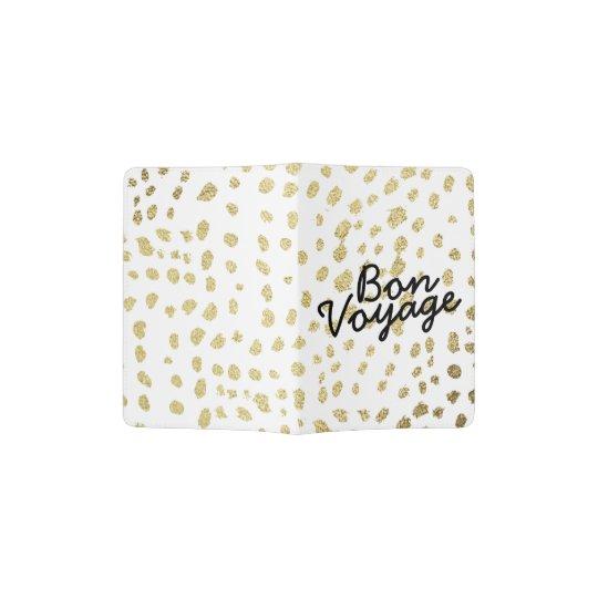 Chic faux gold brush polka dots Bon Voyage