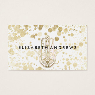 Chic faux gold confetti hamsa hand of Fatima Business Card