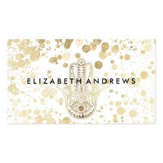 Chic faux gold confetti hamsa hand of Fatima Pack Of Standard Business Cards