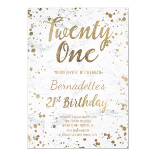 Chic Faux Gold Confetti White Marble 21st Birthday Invitation