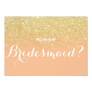 Chic faux gold coral Will you be my Bridesmaid 2 13 Cm X 18 Cm Invitation Card
