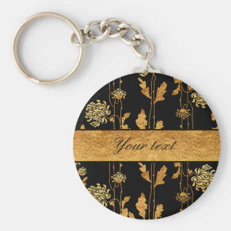 Chic Faux Gold Foil Flowers on Black Basic Round Button Key Ring