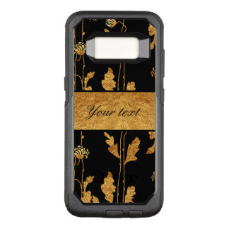 Chic Faux Gold Foil Flowers on Black OtterBox Commuter Samsung Galaxy S8 Case