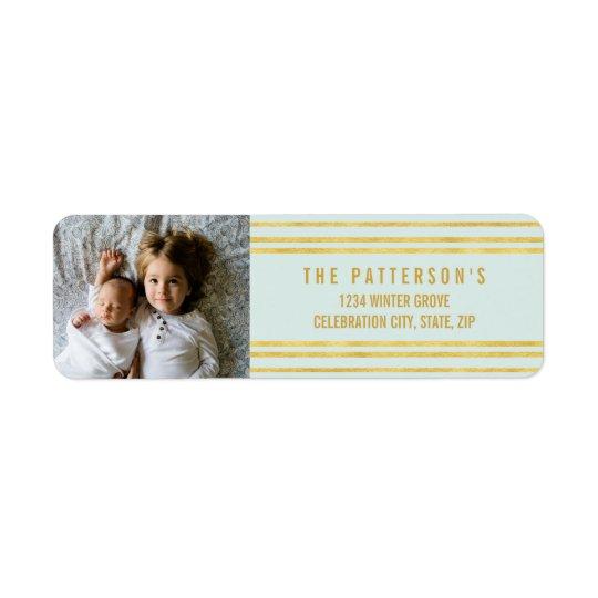 Chic Faux Gold foil Stripes Light Blue Photo