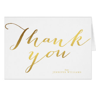 Chic Faux Gold Foil Thank You Notes Note Card