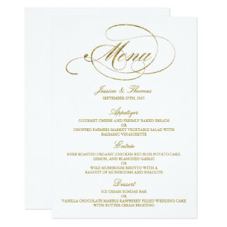 Chic Faux Gold Foil Wedding Menu Template Card