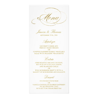 Chic Faux Gold Foil Wedding Menu Template Customised Rack Card