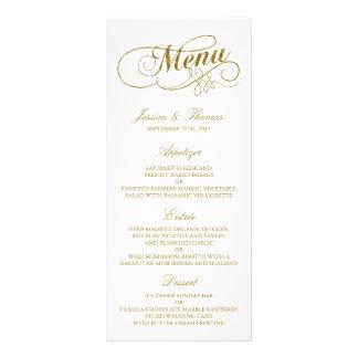 Chic Faux Gold Foil Wedding Menu Template Full Colour Rack Card