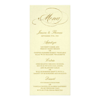 Chic Faux Gold Foil Wedding Menu Template - Ivory Rack Cards
