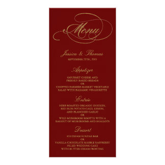 Chic Faux Gold Foil Wedding Menu Template - Red Full Colour Rack Card