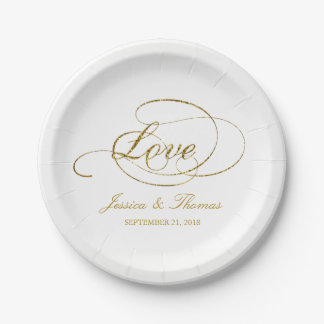 Chic Faux Gold Foil Wedding Reception Template Paper Plate