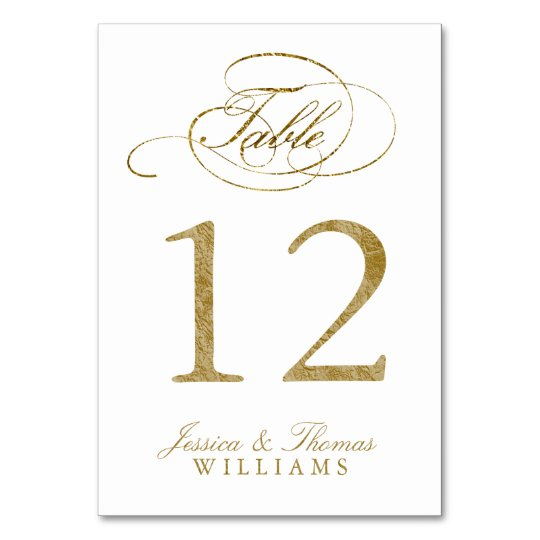Chic Faux Gold Foil Wedding Table Number Cards