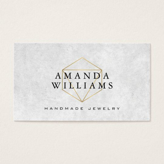 Chic Faux Gold Gemstone Jewellery Designer Business Card