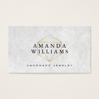 Chic Faux Gold Gemstone Jewelry Designer Business Card