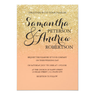 Chic faux gold glitter coral color block wedding card