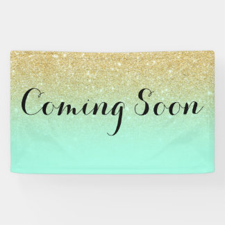 Chic faux gold glitter mint green coming soon banner