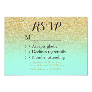 Chic faux gold glitter mint green RSVP wedding Card