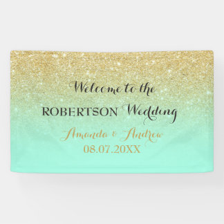 Chic faux gold glitter mint green wedding