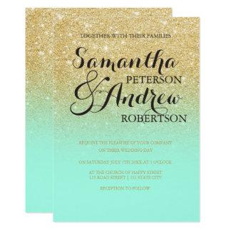 Chic faux gold glitter mint green wedding 13 cm x 18 cm invitation card