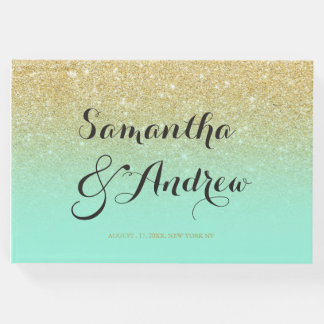Chic faux gold glitter mint green wedding guest book