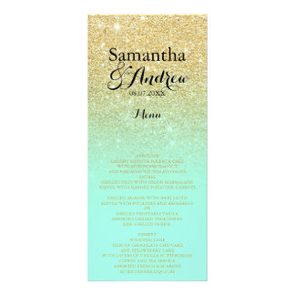 Chic faux gold glitter mint green wedding menu 10 cm x 23 cm rack card