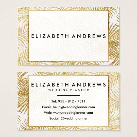 Chic faux gold glitter palm tree Business Cards