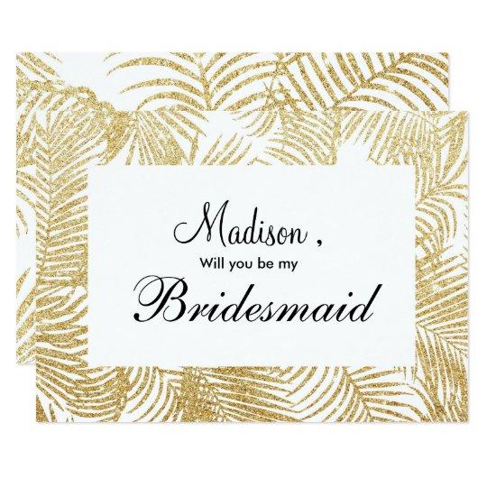 Chic faux gold glitter tropical floral Bridesmaid Card