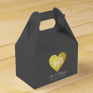 chic faux gold heart of love, 'thank you' wedding favour box