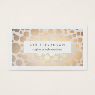 Chic Faux Gold Leaf Circle Pattern Linen Look Business Card