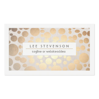 Chic Faux Gold Leaf Circle Pattern Linen Look Pack Of Standard Business Cards