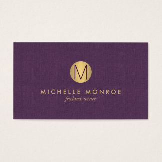 Chic Faux Gold Minimalist Monogram Purple Linen