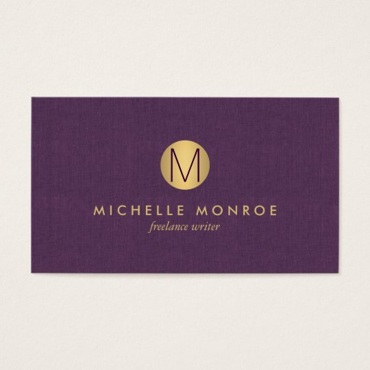 Chic Faux Gold Minimalist Monogram Purple Linen Business