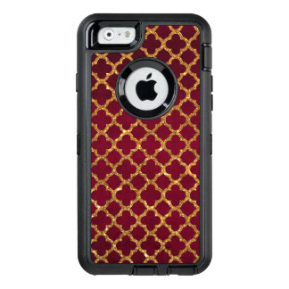 Chic faux gold quatrefoil girly red burgundy OtterBox defender iPhone case