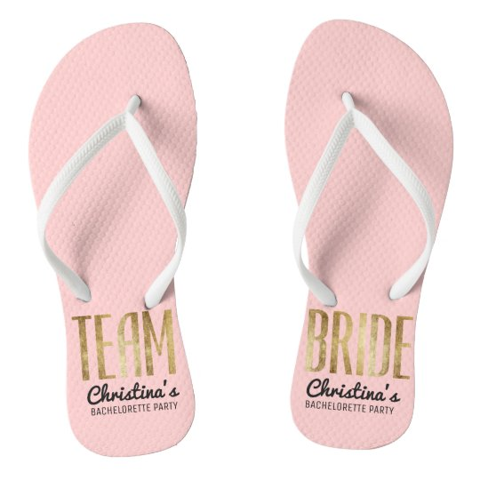 3e80c1097b5415 Chic Faux Gold Team Bride Wedding Bachelorette Flip